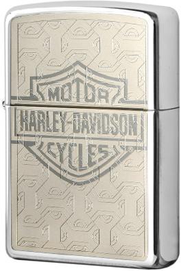 28083 Зажигалка Zippo Harley Davidson logo, Polish Chrome