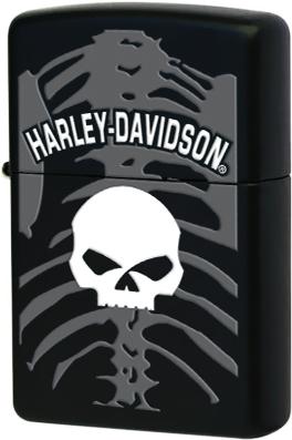 28085 Зажигалка Zippo Harley Davidson Skull and Ribcage, Black Matte