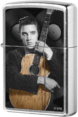 28431 Зажигалка Zippo King of Rock and Roll with his guitar, Street Chrome