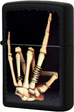 28438 Зажигалка Zippo Skeleton Hand, Black Matte