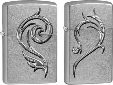 28477 Зажигалка Zippo Heart Combo Piece Set, Street Chrome