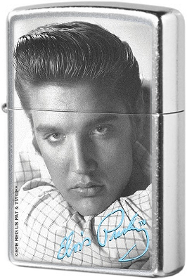 28629 Зажигалка Zippo Elvis and Signature, Street Chrome