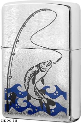 28694 Зажигалка Zippo Fisherman, Brush Chrome