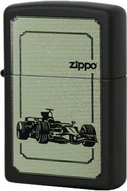 28711 Зажигалка Zippo Race Сar, Black Matte