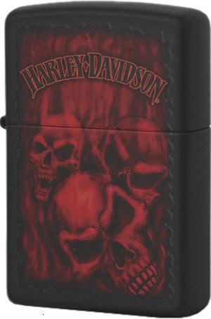 28826 Зажигалка Zippo Harley Davidson Ghostly Red Skulls, Black Matte