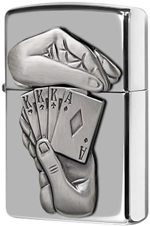 28837 Зажигалка Zippo Full House Emblem, Polish Chrome