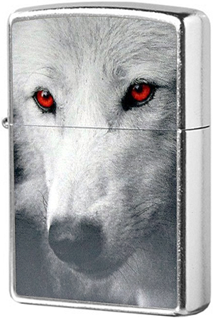 28877 Зажигалка Zippo Wolf With Red Eyes, Street Chrome