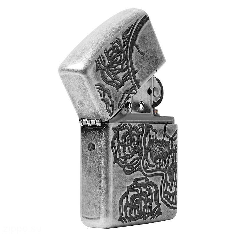 28988 Зажигалка Zippo Armor Skull Roses, Antique Silver Plate приоткрытая лицевая сторона