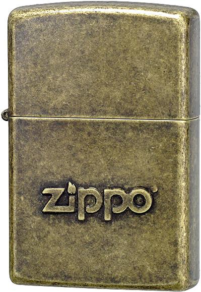 28994 Зажигалка Zippo Logo Stamp, Antique Brass