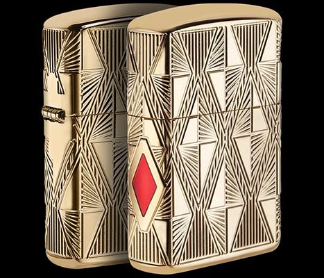 29671 Зажигалка Zippo Luxury Diamond, Armor Gold Plate