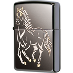 28645 Зажигалка Zippo Running Horse Black Ice, Polish Finish