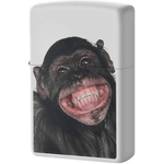 28661 Зажигалка Zippo Monkey Grin, White Matte