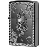 29666 Зажигалка Zippo Spade and Skull Design, Armor Black Ice
