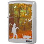 205 Hunting Зажигалка Zippo Осенняя охота, Satin Chrome