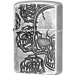 28988 Зажигалка Zippo Armor Skull Roses, Antique Silver Plate