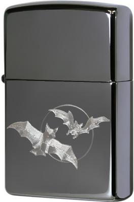 150 Bats Moon Зажигалка Zippo Летучая мышь, Black Ice