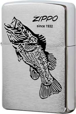 200 Зажигалка Zippo Black Bass, Brushed Chrome