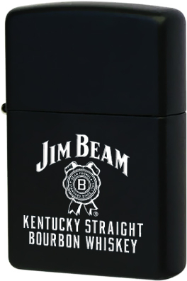 28072 Зажигалка Zippo Jim Beam Kentucky Straight Bourbon Whiskey, Black Matte