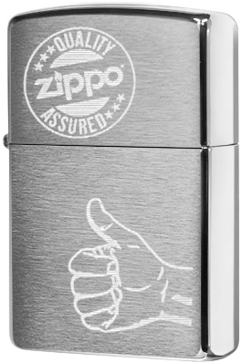 28942 Зажигалка Zippo Quality Assured, Brushed Chrome