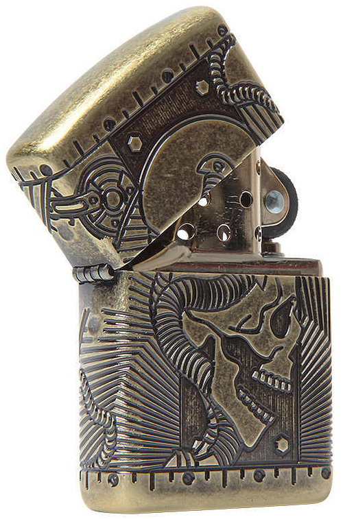 29268 Зажигалка ZIppo Armor Multicut Steampunk Skull, Antique Brass