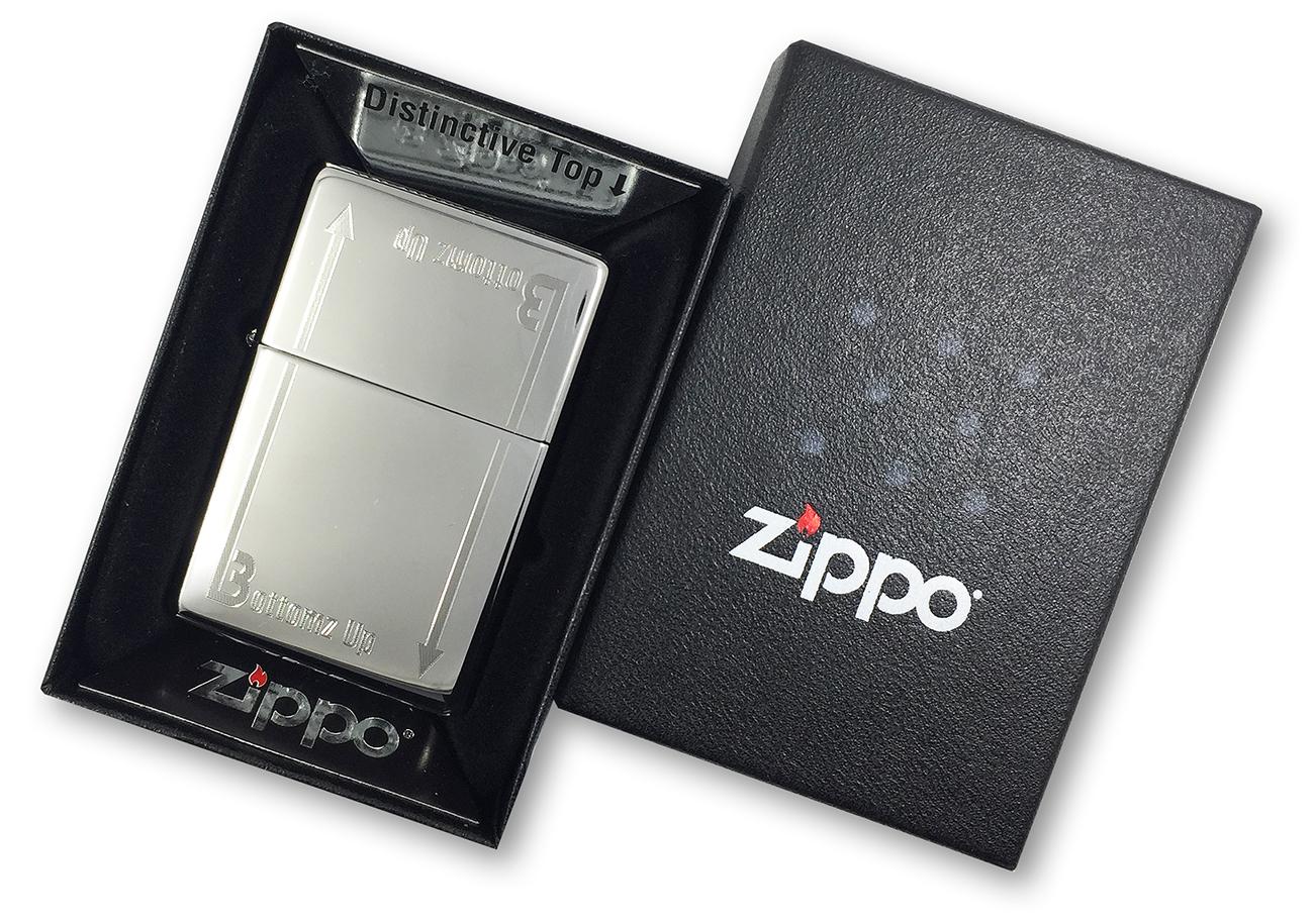 24383 Зажигалка Zippo Bottomz up Logo LTR, Polish Chrome в фирменной подарочной упаковке