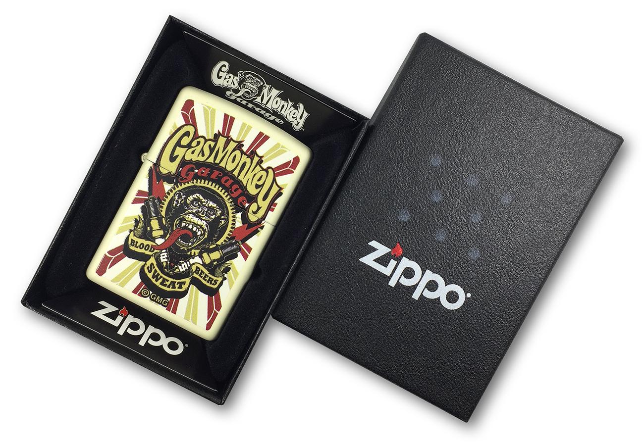 29057 Зажигалка Zippo Gas Monkey Garage, Cream Matte в фирменной подарочной упаковке