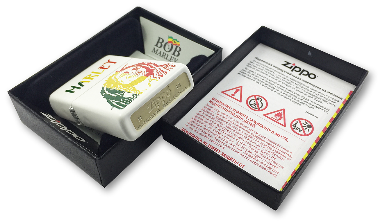 29308 Зажигалка Zippo Bob Marley, White Matte заводской штамп на донышке
