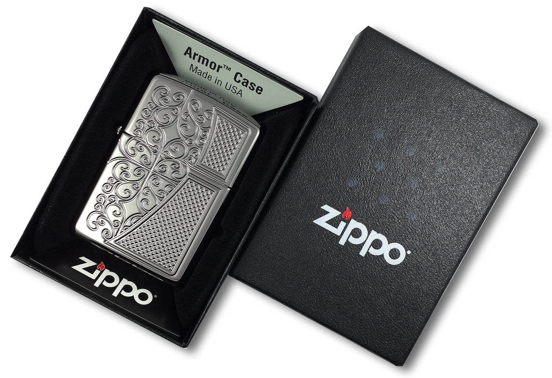 29498 Зажигалка Zippo Old Royal Filigree, Armor Black Ice, в открытой коробке