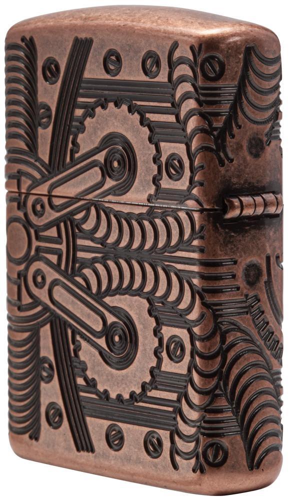 29523 Зажигалка Zippo Gears Armor, Antique Copper с левой стороны