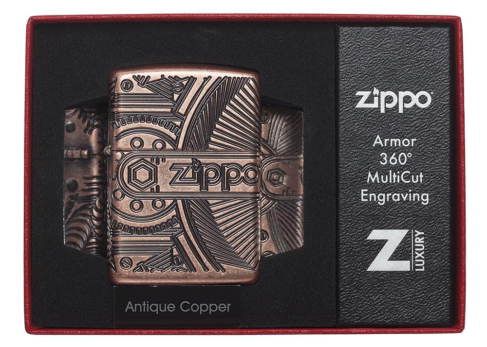 29523 Зажигалка Zippo Gears Armor, Antique Copper в открытой коллекционной упаковке