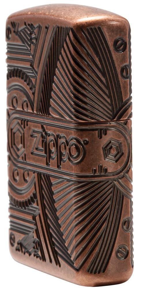 29523 Зажигалка Zippo Gears Armor, Antique Copper с правой стороны