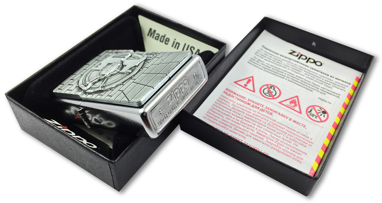 29555 Зажигалка Zippo Safe with Gold Cash Surprise Emblem, Street Chrome штамп на донышке
