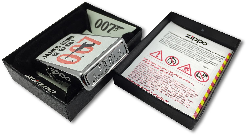 29563 Зажигалка Zippo James Bond 007, Brushed Chrome, штамп на донышке