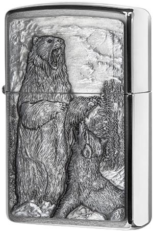 29636 Зажигалка Zippo Bear vs Wolf Emblem, Brushed Chrome