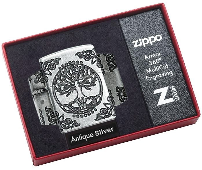 29670 Зажигалка Zippo Armor Tree of Life, Antique Silver