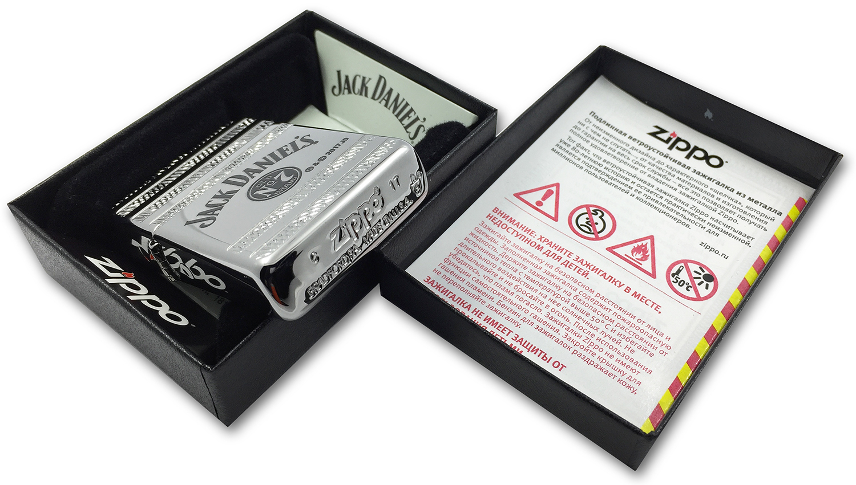 29526 Зажигалка Zippo Jack Daniel's Deep Carve, Armor Polish Chrome