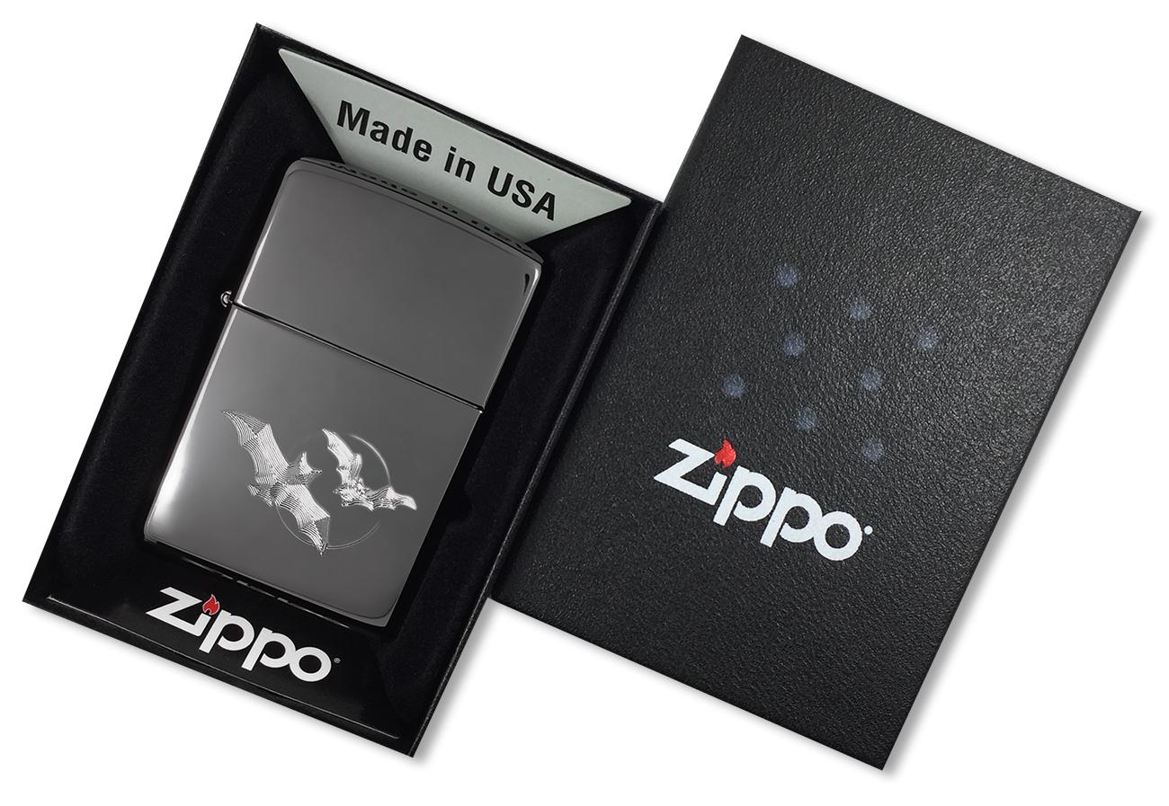 150 Bats Moon Зажигалка Zippo Летучая мышь, Black Ice - в подарочной упаковке