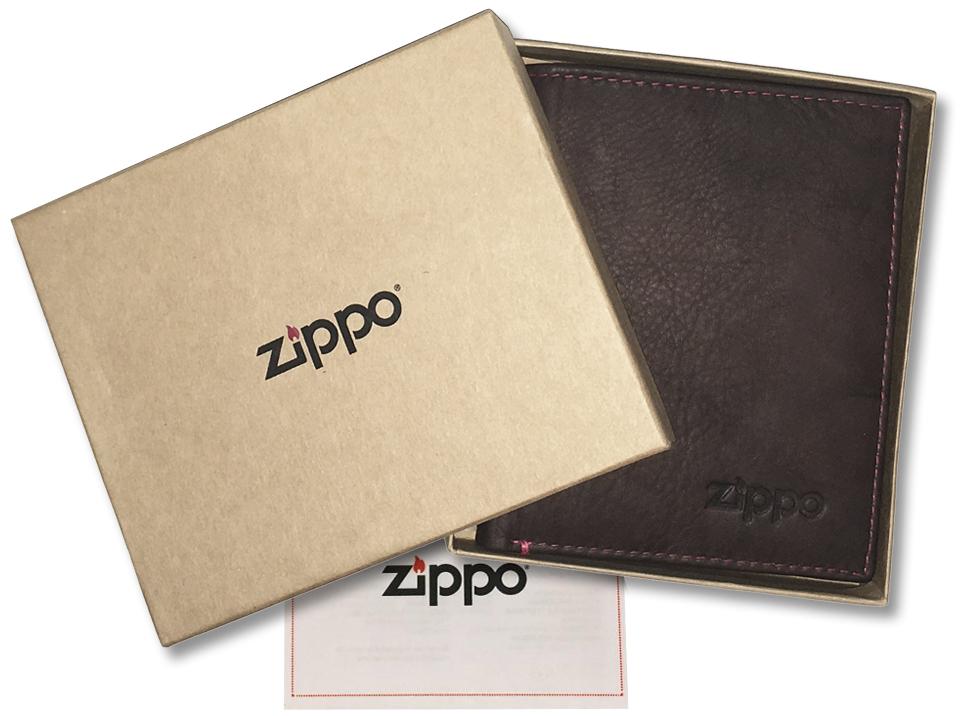 2005122 Портмоне Zippo Vertical Wallet Bi-fold Leather - подарочная коробка из экологически чистых материалов