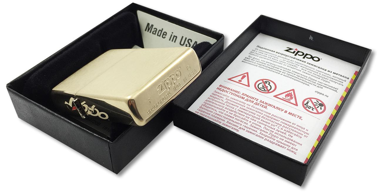 204B Зажигалка Zippo Brushed Brass w/o Solid Engraved - в подарочной упаковке
