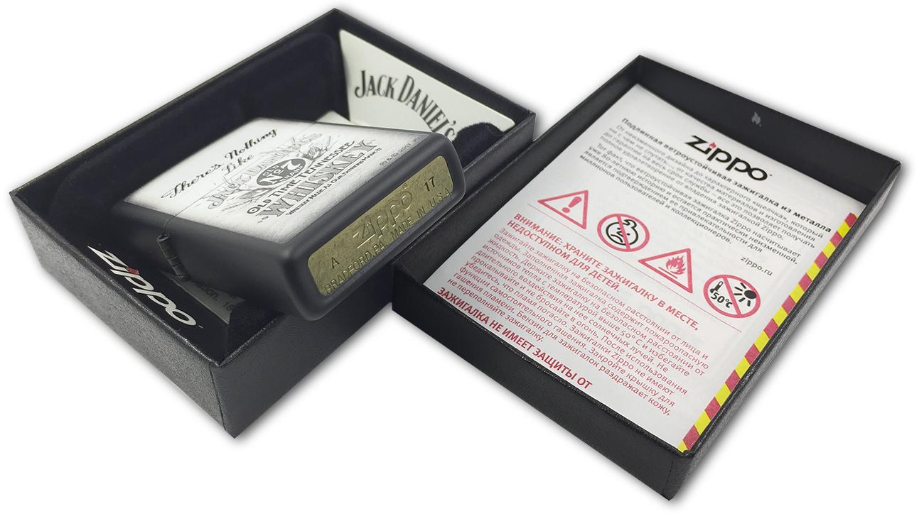 218 Зажигалка Zippo JD Theres Nothing Like, Black Matte - заводской штамп на дне зажигалки