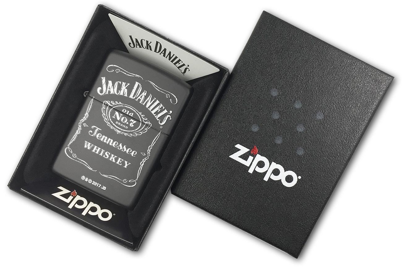 218 Зажигалка Zippo Jack Daniel's old N7, Black Matte - в подарочной коробке