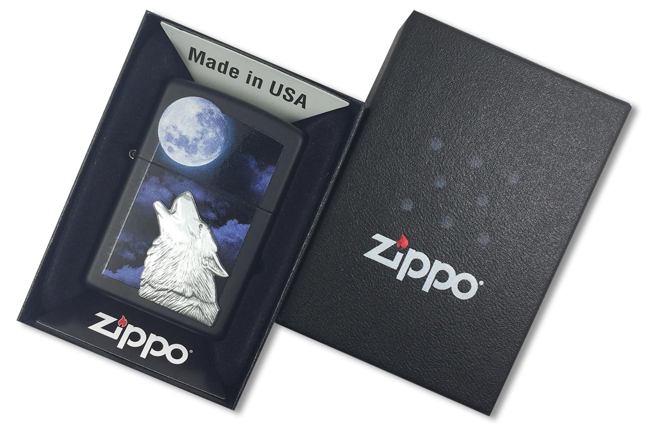28879 Зажигалка Zippo Howling Wolf, Black Matte - в подарочной упаковке