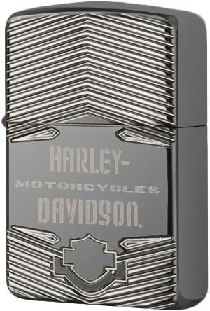 29165 Зажигалка Zippo Armor Harley-Davidson Deep Carved, Black Ice