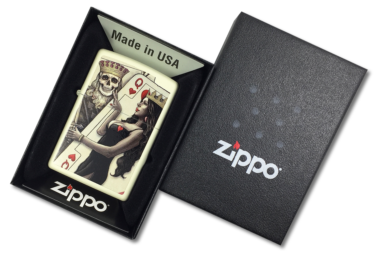 29393 Зажигалка Zippo Skull, King, Queen Beauty, Cream Matte - в подарочной коробке