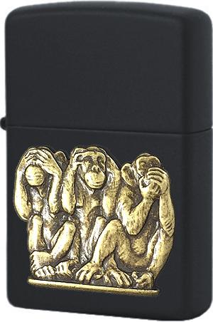 29409 Зажигалка Zippo Three Monkeys, Black Matte