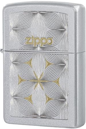 29411 Зажигалка Zippo Flowers, Satin Chrome