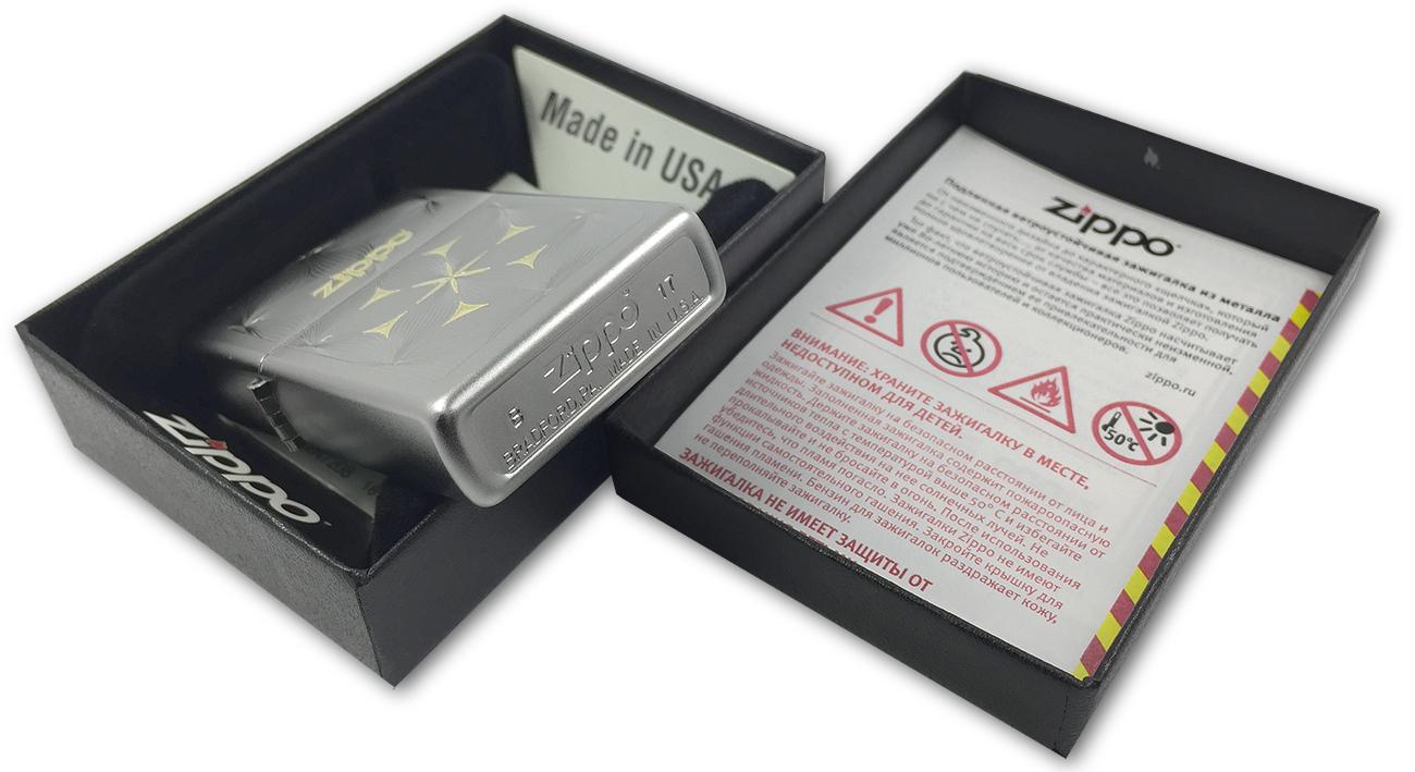 29411 Зажигалка Zippo Flowers, Satin Chrome - заводской штамп на дне зажигалки