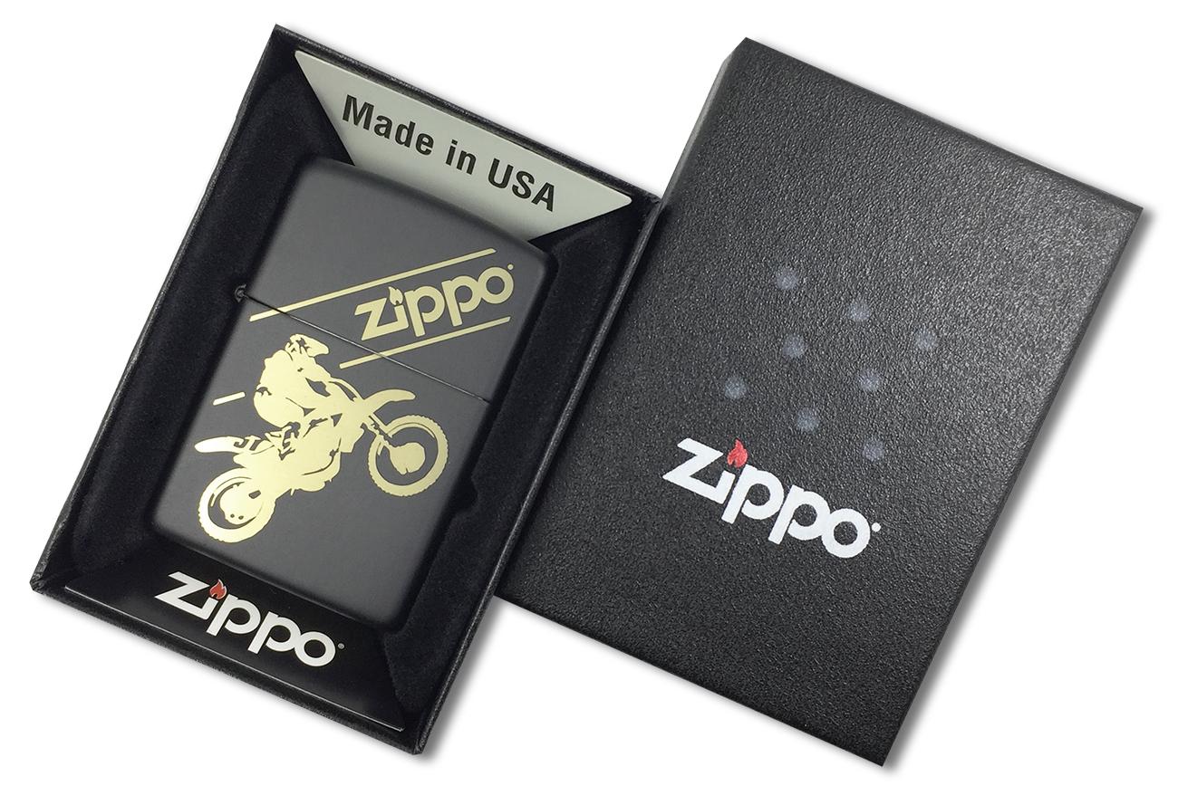 29528 Зажигалка Zippo Motocross, Black Matte - в подарочной коробке
