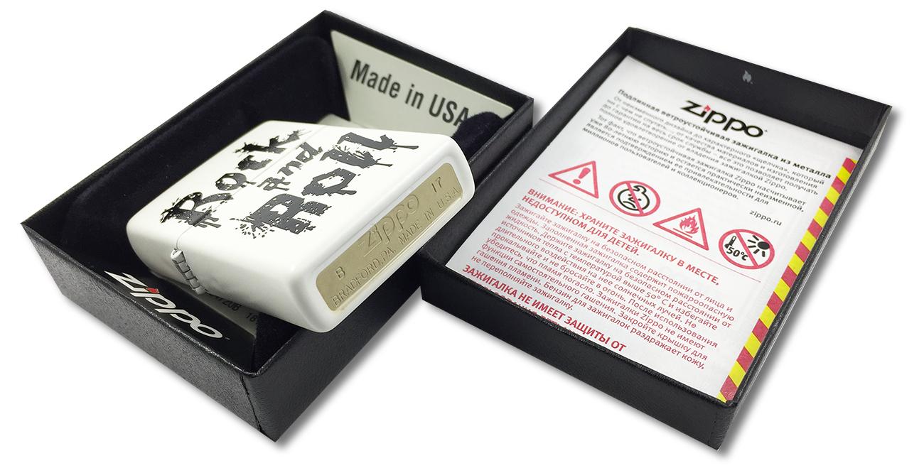 29538 Зажигалка Zippo Rock and Roll, White Matte - заводской штамп на дне зажигалки