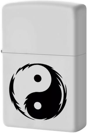 29544 Зажигалка Zippo Yin Yang, White Matte